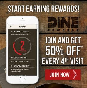 Dine Rewards - Outback Steakhouse Carabbas Flemmings Bonefish Grille