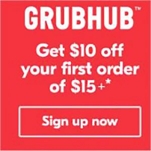 GRUBHUB - Save $10 off $15