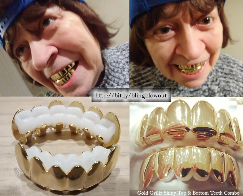 BlingBlowout.com - Gold Grillz Shiny Top & Bottom Teeth Combo